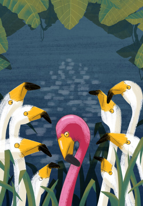 Flamingos-Alan-ORourke-kids-Illustrator